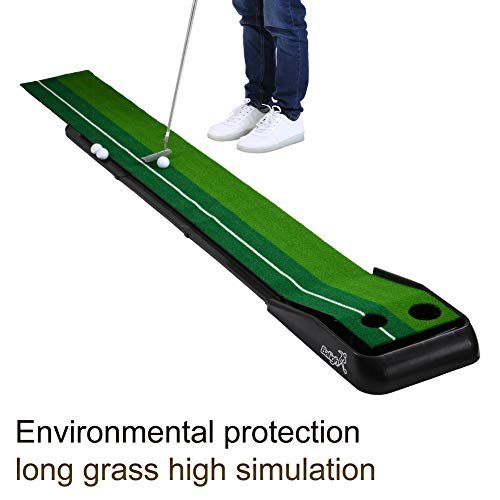 Ehinew Golf Putting Mat Green Indoor Outdoor with Auto Ball Return Function, Portable Golf Court Mini Training Aids
