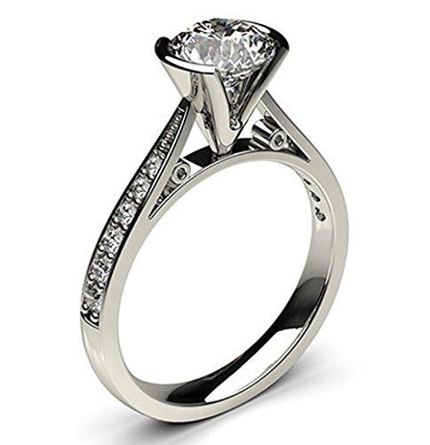 14K White Gold (HallMarked) , Round Cut Semi Bezel Setting Medium Side White Diamond Engagement Wedding Ring Size - 6.25