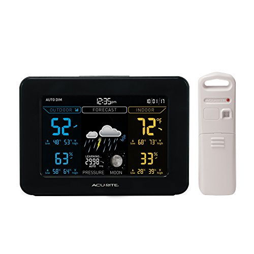 AcuRite 02027A1 Color Weather Station with Temperature and Humidity Monitor, Weather Forecaster - Dark Theme