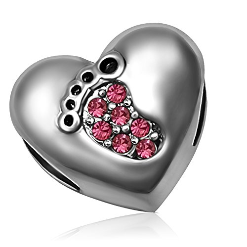 KunBead Family Love Baby Footprint Heart Pink October Charms for Bracelets