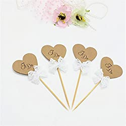 "24 CT Brown Rustic Wedding Cupcake Toppers ""I DO"" - by Giuffi"