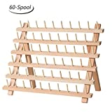 HAITRAL 60-Spool Sewing Thread Rack, Wooden Embroidery Thread Organizer for Sewing Thread Spools