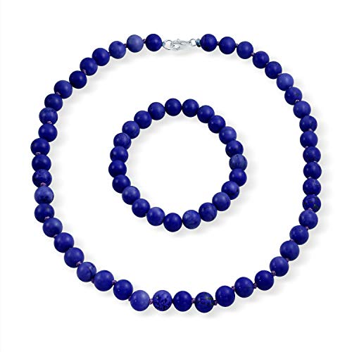 (Royal Blue 9mm Ball Beads Simulated Lapis Strand Necklace Stretch Bracelet Set For Women 925 Sterling Silver)