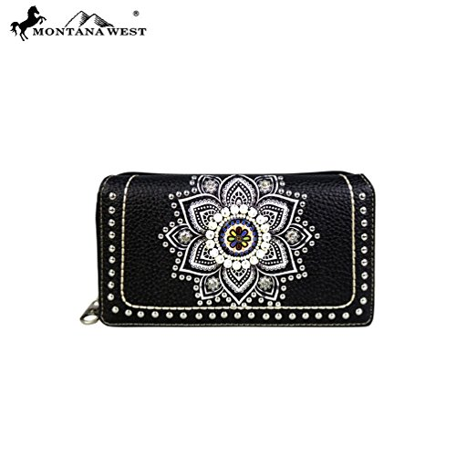 MW523-W010 Montana West Concho Collection Secretary Style Wallet (Black / Beige) Brand Name: Montana - Collection Concho