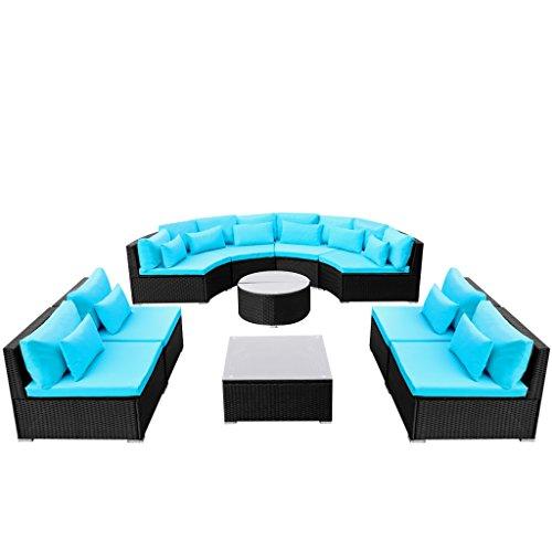 Festnight Outdoor Luxurious Patio Sofa Set Poly Rattan Garden Sofa Sectional Conversation Furniture Set (Blue-2)