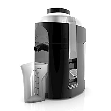 BLACK+DECKER JE2200B Fruit & Vegetable Juicer Juice Machine, with Stainless Steel Cutter & Strainer Includes Large Capacity Pulp Container & 10 oz. Juice Container, Black Juicer