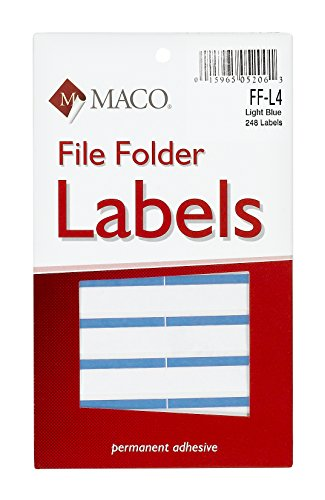 MACO Light Blue File Folder Labels, 9/16 x 3-7/16 Inches, 248 Per Box (FF-L4)