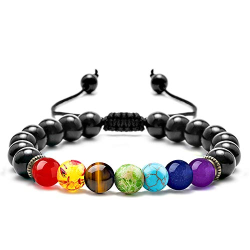 M MOOHAM Gemstone Bead Bracelets - 8mm Natural Tiger Eye Stone Black Agate Beads Bracelet, Men Women Stress Relief Yoga Beads Adjustable Semi-Precious Stone Bracelet - Eye Accessories