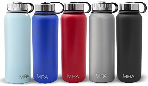 MIRA 40 oz, 32 oz or 18 oz Stainless Steel Vacuum Insulated Wide Mouth Water Bottle | Thermos Keeps Cold for 24 hours, Hot for 12 hours | Powder Coated Travel Flask