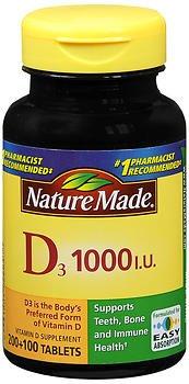 Nature Made Vitamin D3 1000 IU, 300 Tablets