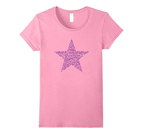 (Womens Pink glitter star T-shirt Medium Pink)