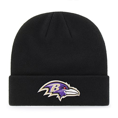 Baltimore Ravens Embroidered Football (OTS NFL Baltimore Ravens Raised Cuff Knit Cap, Black, One Size)