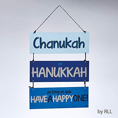 Chanukah Decoration for Wall or Door 3 Tiered Painted Blue Glittered Accents