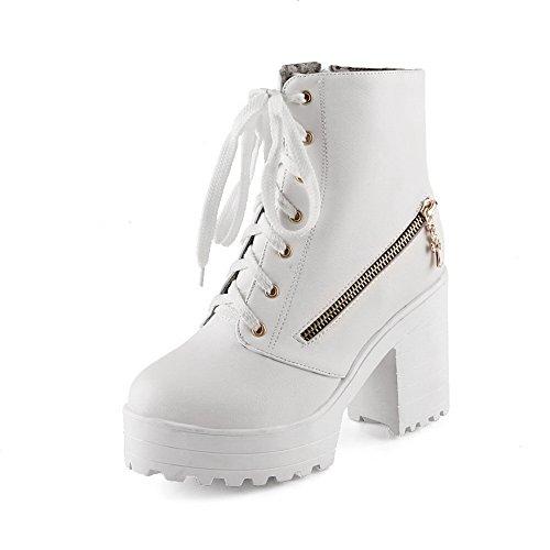 AdeeSu Womens Chunky Heels Bandage Platform Soft Material Boots White