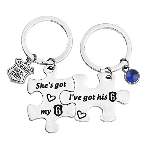 bobauna I've got his 6 She's Got My 6 Puzzle Keychain Set Thin Blue Line Jewelry for Police Couple (Police Keychain Set) by bobauna
