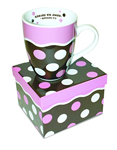 Divinity Boutique Spanish Inspirational Ceramic Mug, Ephesians 5:2, Pink and White Dots, Multicolor (Spanish Dots)