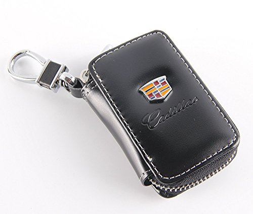(Black Key Chain bag Premium Leather Car Coin Holder Zipper Case Remote Wallet Bag for Cadillac)