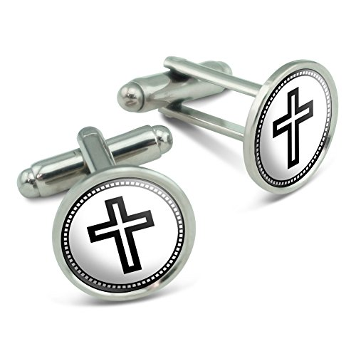 (Made on Terra Christian Cross Men's Cufflinks Cuff Links Set)
