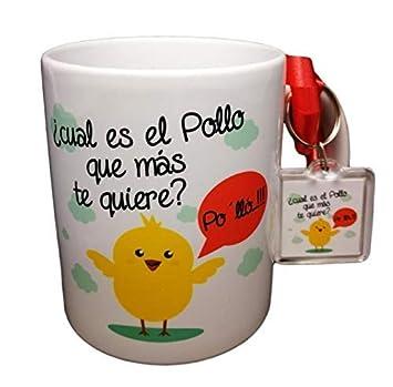Taza Y Llavero con Frase CUAL ES EL Pollo Que MAS TE Quiere? PO LLÓ. Taza Original, Regalo DE Amor ROMANTICO San Valentin Aniversario