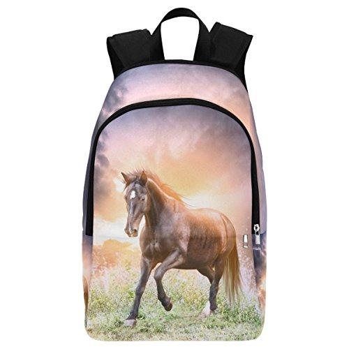 InterestPrint Custom Fantasy Running Horse Casual Backpack School Bag Travel Daypack (Horse Kids Duffel Bag)