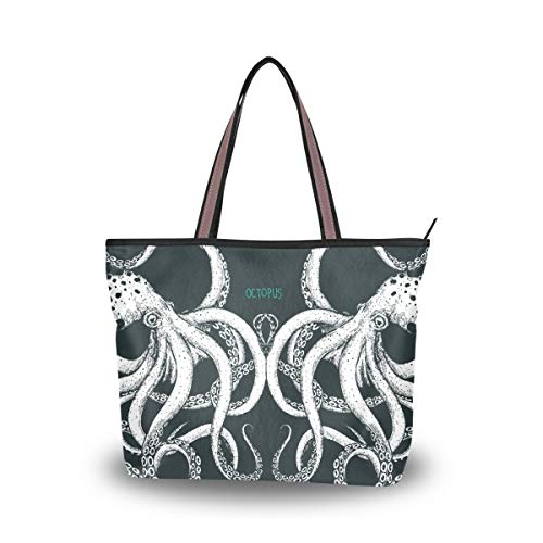 JSTEL Women Large Tote Top Handle Shoulder Bags Couple Octopuses Patern Ladies Handbag by JSTEL