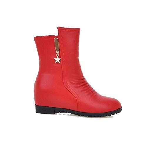 VogueZone009 Damen Niedriger Absatz Rein Rund Zehe Reißverschluss Stiefel mit Metallisch, Rot, 37