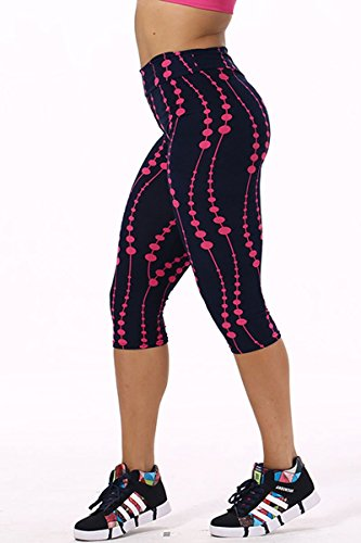 Women's Active Workout Capri Leggings Shorts Stretchy Tights(Flower,L)