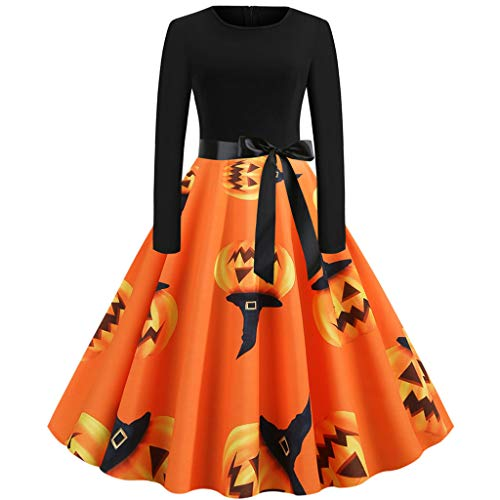 TnaIolral Women Vintage Dresses,Long Sleeve Halloween 50s Housewife Evening Party Skirt (XXL, Orange 2) (Versace Shop Online)