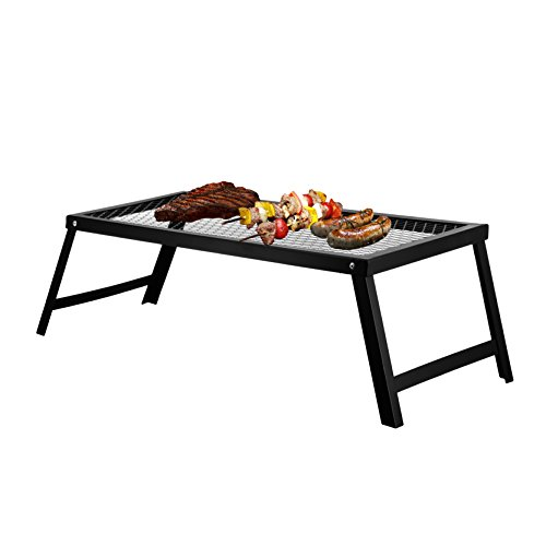 Portable Campfire Grill Stand With Folding Legs, 22 in x 12 in, for Use Over Open Fire, By Bruntmor