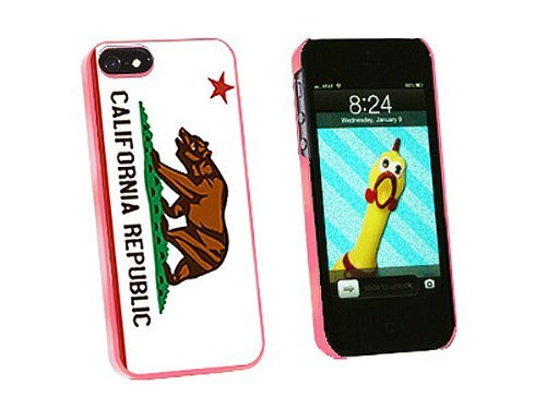 Graphics and More California Republic Flag Snap-On Hard Protective Case for iPhone 5/5s - Non-Retail Packaging - Pink