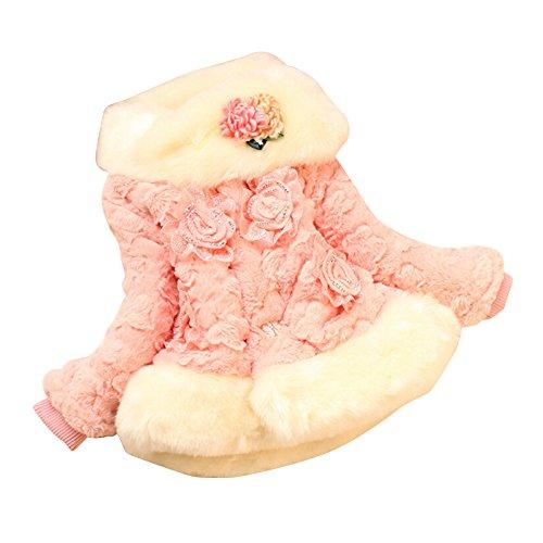 CoolBiz Girls Kids Winter Warm Fleece Coat Jacket X-mas Flower Princess Outwear - Pink Jordan Jacket