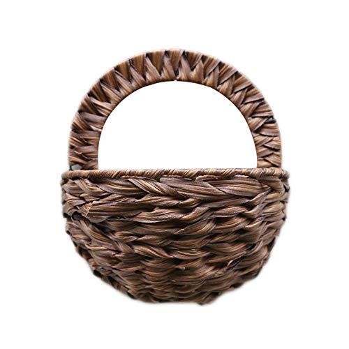 SeedWorld Vases - Indoor Outdoor Decor Hanging Basket Artificial Flower Pot Hanger Props Wall Bamboo Braided Basket Wall Hanging Flower Basket 1 ()
