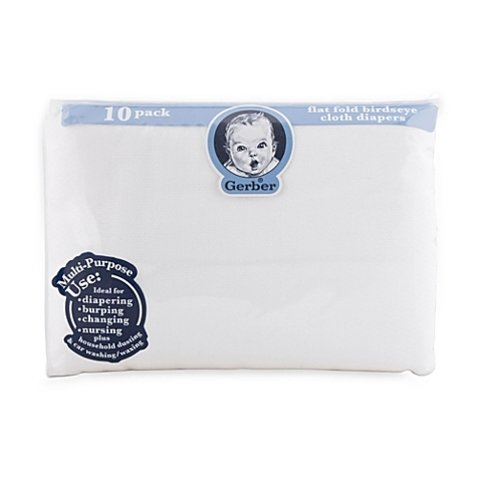 Gerber Birdseye Count Flatfold Cloth Diapers, White