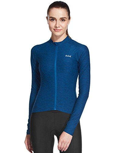 [Baleaf Women's Space Dye Long Sleeve Cycling Jersey UPF 30+ Navy Blue Size S] (Woman In Labor Costume)