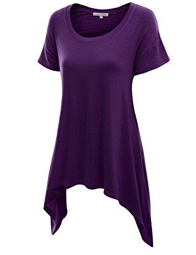 Doublju Basic Short Sleeve Long Asymmetrical Tunic Tops For Women With Plus size PURPLE 2XL