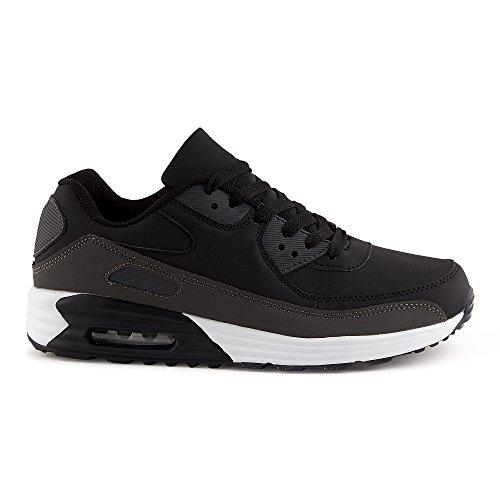FiveSix Herren Damen Sneaker Sportschuhe Schnür Lauf Freizeit Fitness Dämpfung Low Top Unisex Schuhe Schwarz/Grau-M