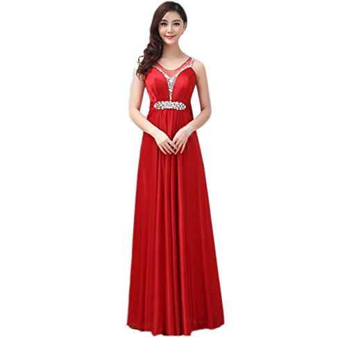 VogueZone009 Womens Straps Formal Dresses with Studded Rhinestones Bowknot, Red, 16 by VogueZone009