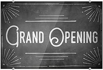 Grand Opening Chalk Corner Premium Acrylic Sign 36x24 CGSignLab