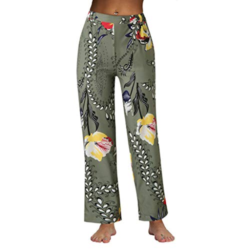 JOFOW Wide Leg Pants Womens Boho Ethnic Floral Flowers Comic Print Casual Loose Long Straight Leg High Waist Chino Trousers (S,Grayish) (Decanters Sale For)