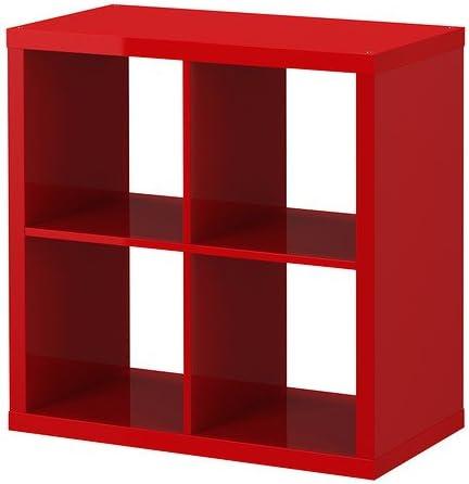 Estantería de alto brillo de color rojo - - IKEA Kallax 77x77 ...