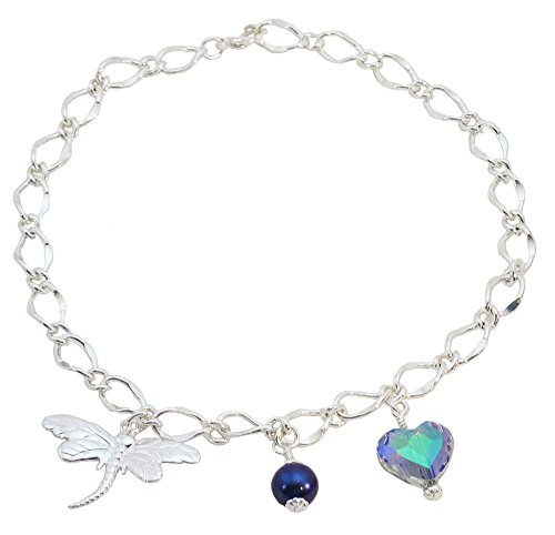 Dragonfly, Simulated Blue Pearl, Multi Colored Heart Bridal Ankle Bracelet ()