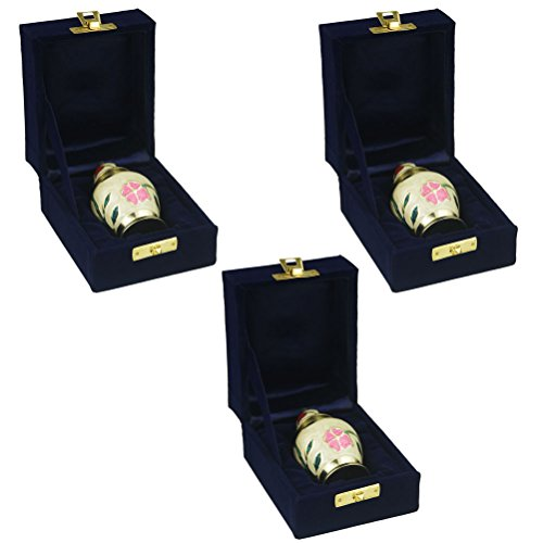 Keepsake Urns Set of 3 - Funeral Urn by Meilinxu- Mini Brass Cremation Urn for Human Ashes Adult - Fits a Small Amount of Cremated Remains - Display Burial Urns at Home or Office (Fleur Pink, Baby (Flower Box Keepsake Set)