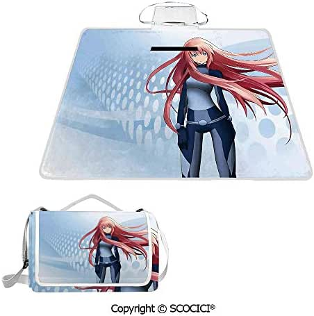 SCOCICI Easy Carry Superior Material & Durable Super Soft Beach Picnic Blanket Mat Futuristic Manga Girl Science Fiction Doodle Effect Japanese Style Art Print Premium Design Multiple Use