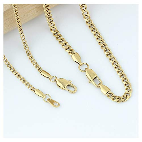 Link Cuban 14k Gold Mens - GOLD IDEA JEWELRY Luxurious Miami Cuban Link Chain Heavy 14k Gold Plated Stainless Steel Looks Like Solid Gold 18
