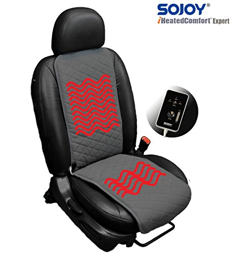SOJOY Universal 12V Thickening Heated Car Seat Heater Heated Cushion Warmer - Gray-