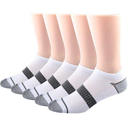 White Stripe Ankle Socks (RioRiva Pack of 5 Men Ankle Athletic Socks White,US 6-13/EU 39-48)