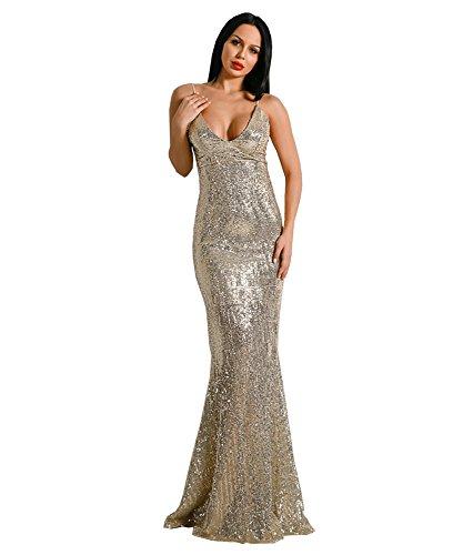 Gold Medium Damen Cocktail Kleid Missord Gr IXvwqq