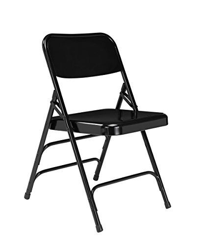- National Public Seating 300 Series, Model 310 All Steel Premium Folding Chair with Triple Brace, 480 lbs Capacity, Black (Carton of 4)