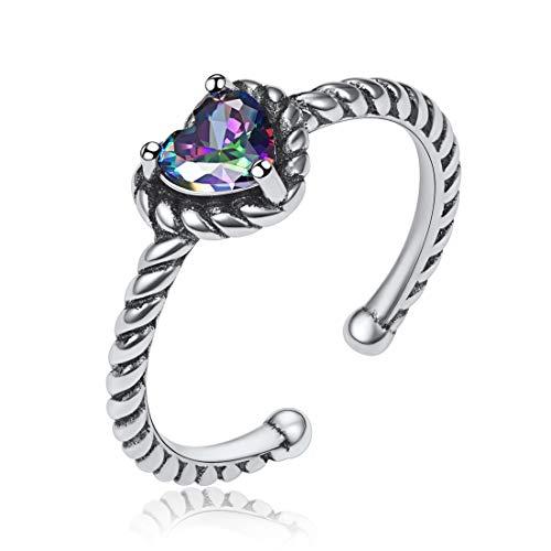 Multicolor Topaz Heart Ring for Women Girls,925 Sterling Silver Open Finger...