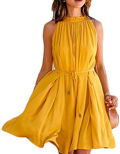 Womens Midi Neck 1 Jaycargogo O Summer Pleat Sleeveless Dress TqxYwd